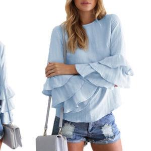 Alexis Women's Bell-Sleeve Top - Blue - Size:XL